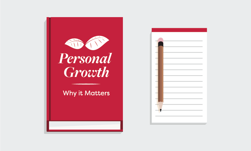 "Icon of book called ""Personal Growth - Why it Matters"" with notepad and pencil"
