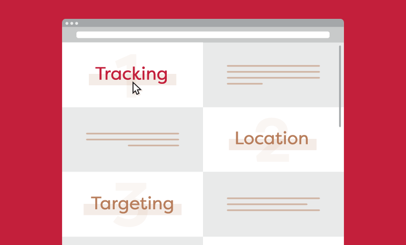 "diagram of website with 3 sections labelled ""Tracking"", ""Location"", and ""Targeting"""