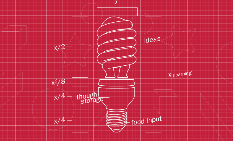image of lightbulb on architectural paper with dimensions graphs