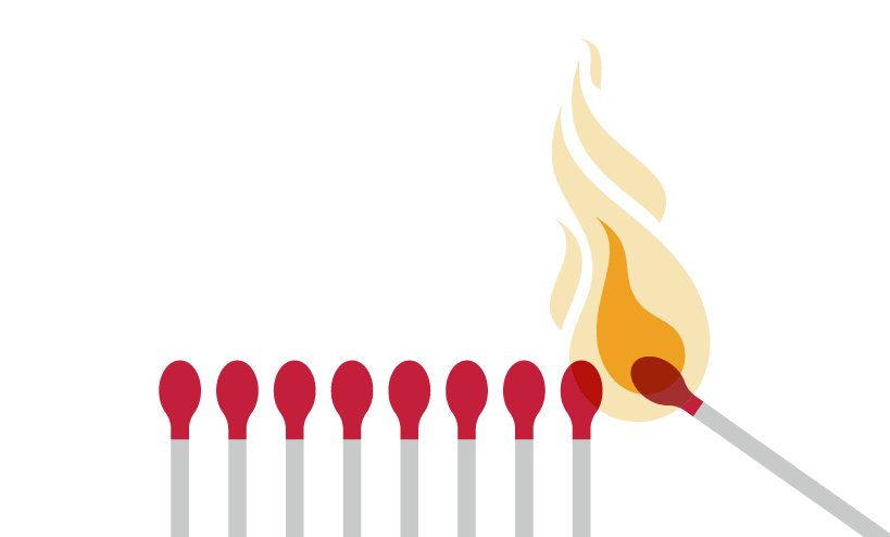 diagram of matches stacked in a row with the last one being lit and about to light the one next to it