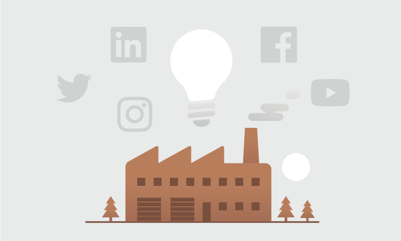 Drawing of factory with light bulb above it and social media icons floating around it