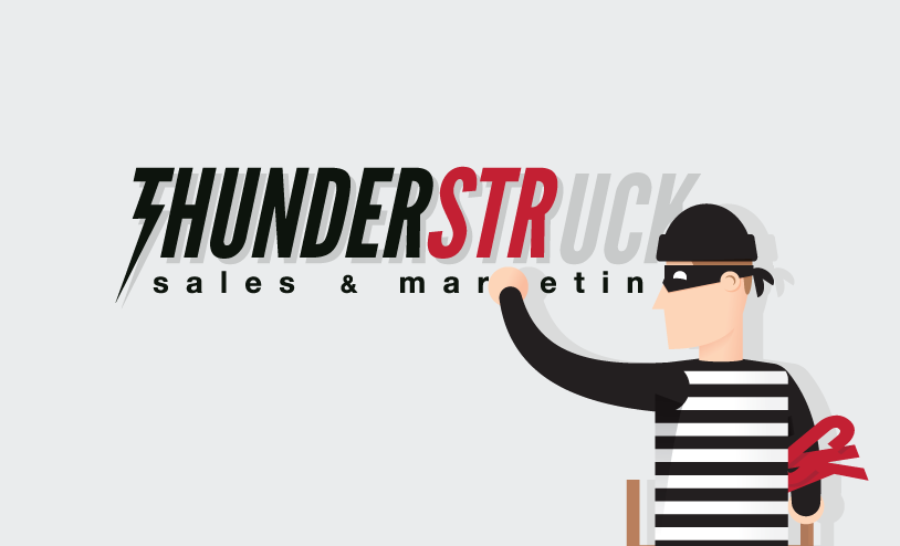 Thunderstruck Sales & Marketing logo with thief attempting to steal