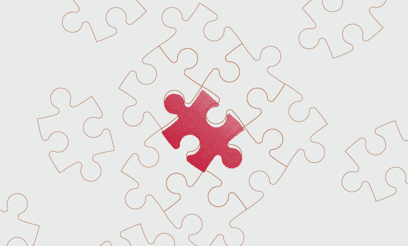 diagram of red puzzle piece in the middle of many white puzzle pieces